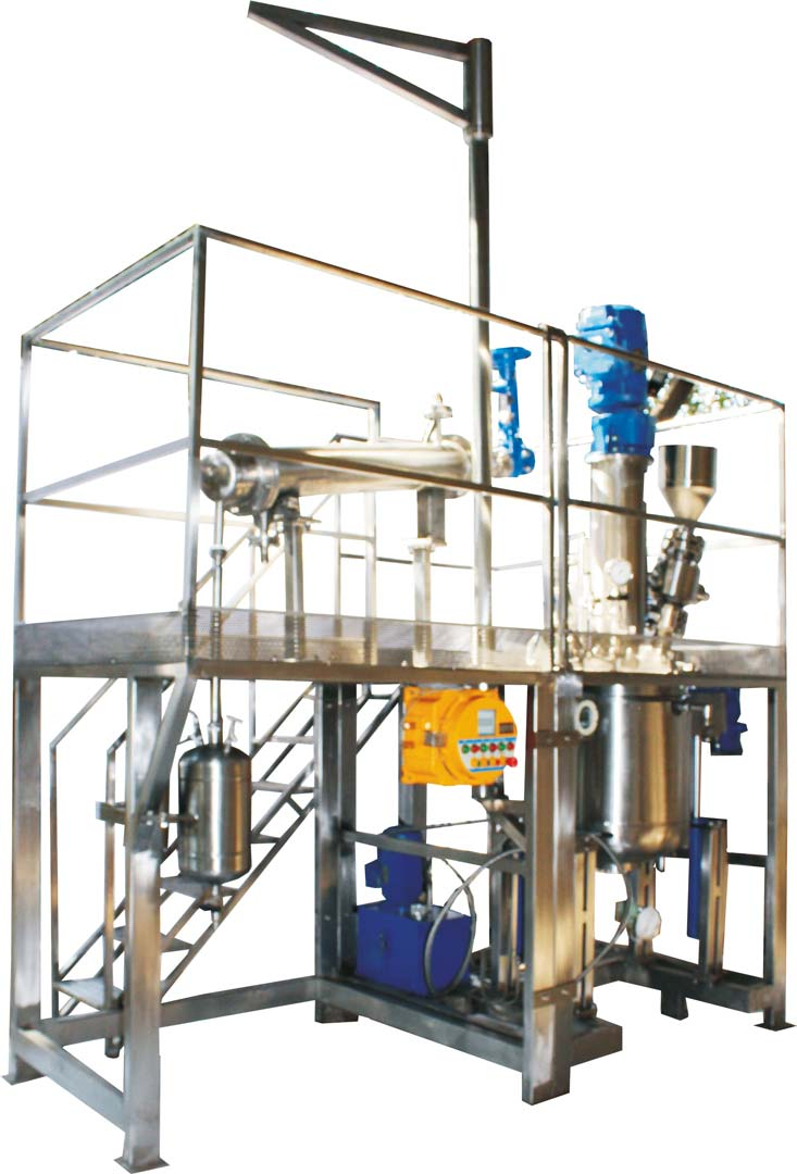 100 ltr polymerization reactor for (2 million cP) viscous polymer with hydraulic vessel raising lowering & tilting mechanism